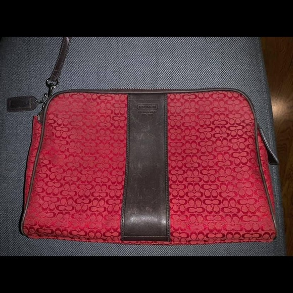 Coach Handbags - Coach Cherry Red Signature Makeup Bag F05094